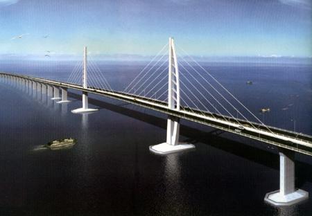 Le pont de l'union entre Hong Kong à Macao